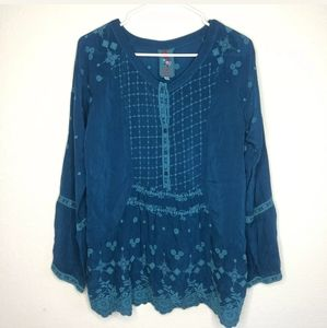 Johnny Was Floral Embroidered Scalloped Tunic h5…